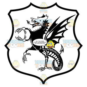 Black And White Winged Dragon With Talons For Hands And Feet Coat Of Arms Inside Geometric Plaque Shield