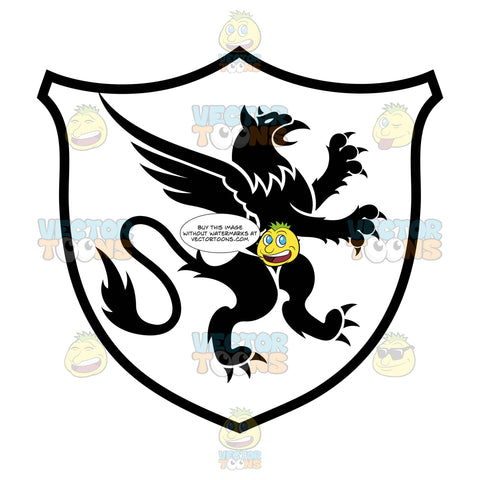 Black And White Rearing Gryphon Coat Of Arms Inside Geometric Plaque Shield