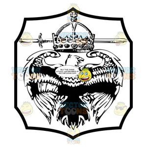 Black And White Eagle With Wings Spread Under Crown And Sword Coat Of Arms Inside Geometric Plaque Shield