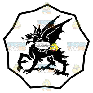 Black And White Dragon With Dog-Like Face, Long Ears Coat Of Arms Inside Geometric Plaque Shield