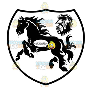 Black And White Galloping Horse Next To A Helmet Coat Of Arms Inside Geometric Plaque Shield
