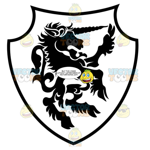 Black And White Upright Unicorn With Hair Near Hooves Coat Of Arms Inside Geometric Plaque Shield