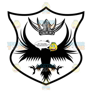Black And White Eagle Falcon With Outstretched Wings And Talons With Horned Viking Helmet Above It Coat Of Arms Inside Geometric Plaque Shield