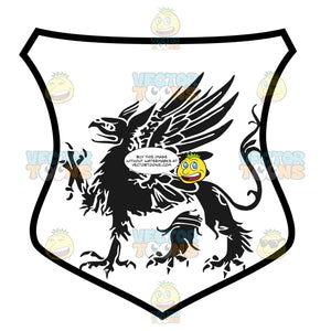 Black And White Griffin With One Talon Raised And Wings Coat Of Arms Inside Geometric Plaque Shield