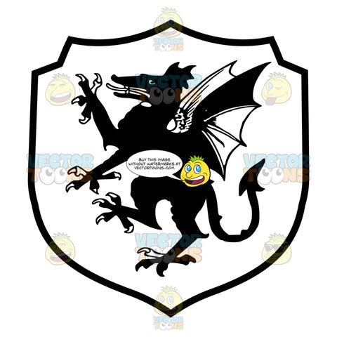 Black And White Medieval Stylized Winged European Dragon Coat Of Arms Inside Geometric Plaque Shield