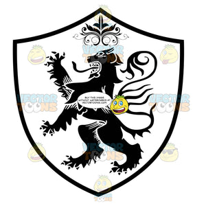 Black And White Medieval Stylized Lion Standing Up On Two Legs, Claws Up With Long Serpent Tongue And Long Tail With Ornate Florishes Over Coat Of Arms Inside Geometric Plaque Shield