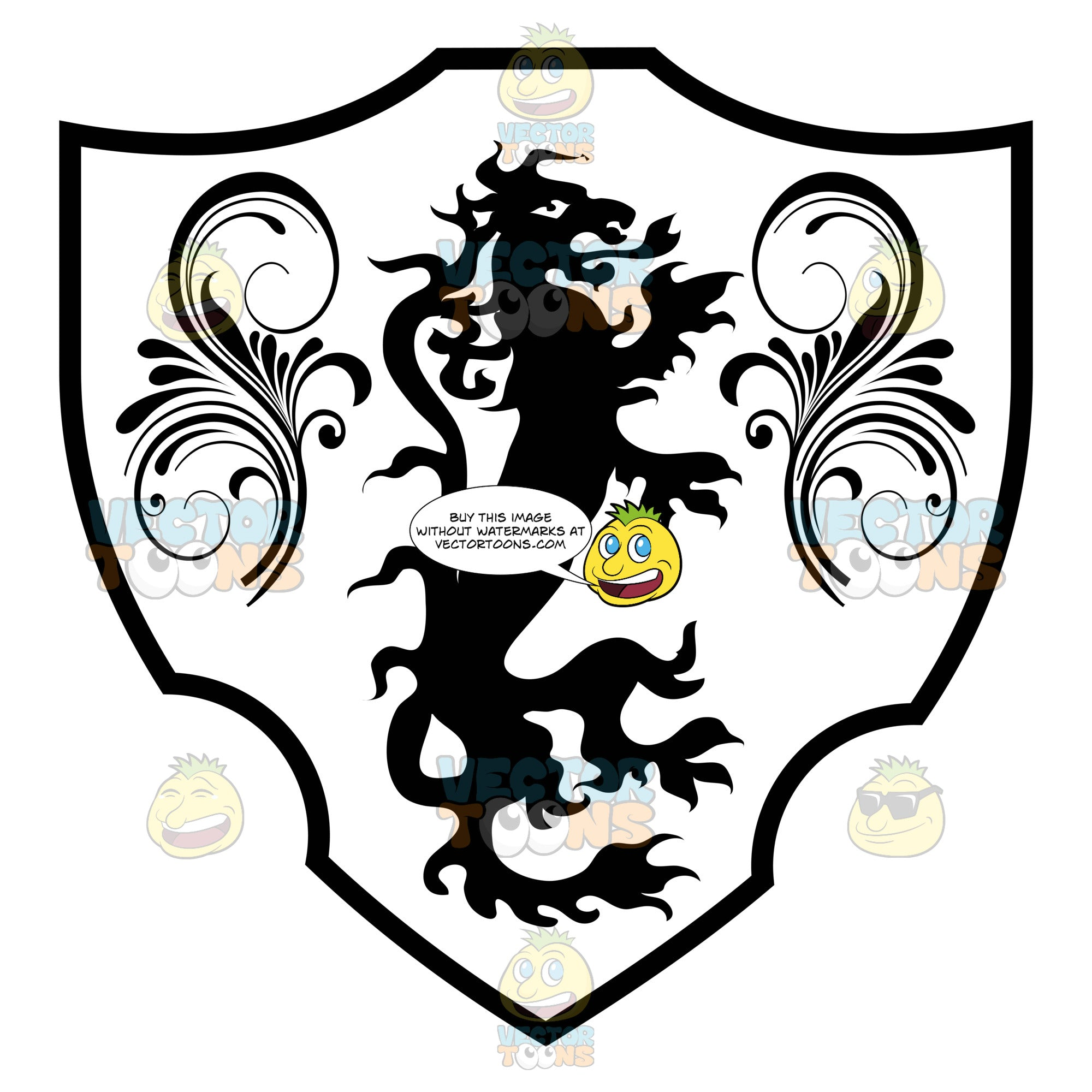 Black And White Medieval Stylized Long Thin Dragon With Ornate Florishes On Both Sides Coat Of Arms Inside Geometric Plaque Shield