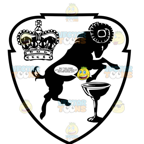 Black And White Coat Of Arms With Crown, Rearing Ram And Goblet Inside Geometric Plaque Shield
