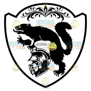 Black And White Coat Of Arms With Wolverine, Helmet And Florish Detail Inside Geometric Plaque Shield