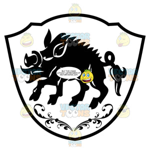 Black And White Coat Of Arms Wild Boar With Ornate Florish Above It Inside Geometric Plaque Shield