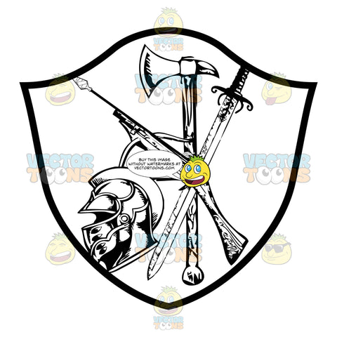 Black And White Coat Of Arms Crossbow, Ax, Sword And Knight Helmet Inside Geometric Plaque Shield