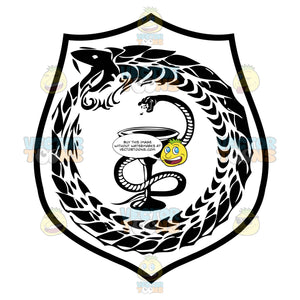 Black And White Coat Of Arms With Serpent Rising To Strike Above Wine Goblet Surrounded By Circle Serpent Eating Its Own Tail Inside Geometric Plaque Shield