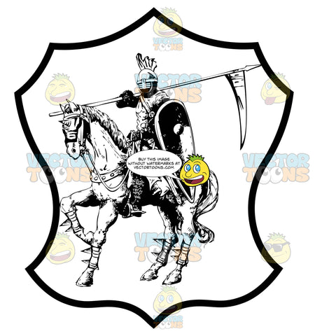 Black And White Knight Dressed In Armor On A War Horse With Spear With Pennant Over Shoulder Coat Of Arms