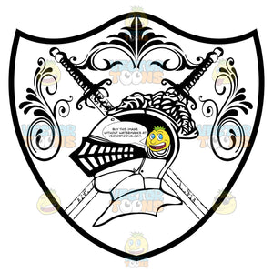 Black And White Coat Of Arms Of Knight'S Helmet With Feather Plume In Front Of Two Crossed Swords With Ornate Florish Overhead Inside Geometric Plaque Shield
