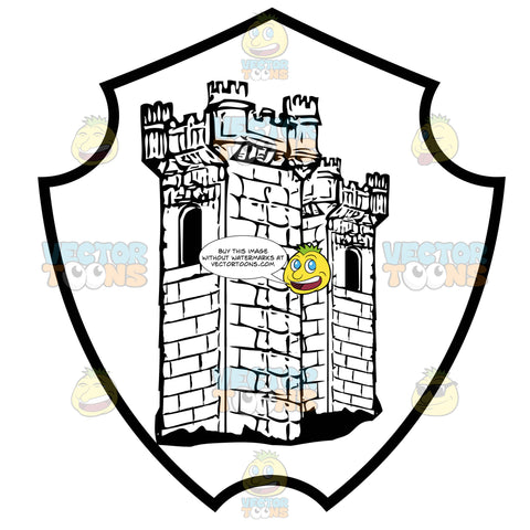 Black And White Castle Tower Coat Of Arms Inside Geometric Plaque Shield