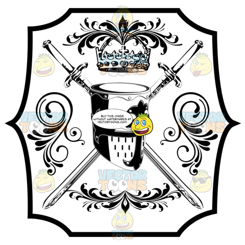 Black And White Knights Helmet With Crown Above It And Two Crossed Swords, Florishes Coat Of Arms Inside Geometric Plaque Shield