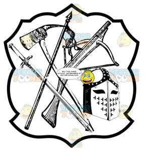 Black And White Coat Of Arms Axe, Crossbow, Spear, Sword And Cross Knight'S Helmet Inside Geometric Plaque Shield