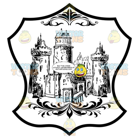 Black And White Castle With Towers And Bridge Coat Of Arms Inside Geometric Plaque Shield