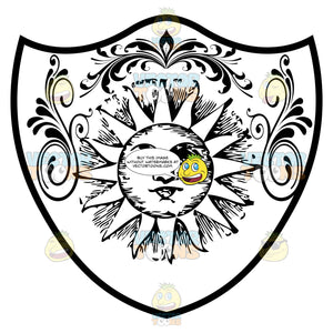 Black And White Old Fashioned Sun With Face And Triangle Rays And Florishes Coat Of Arms Inside Geometric Plaque Shield