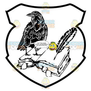 Black And White Raven On Top Of Open Book With Feather Quill Pen Coat Of Arms Inside Geometric Plaque Shield