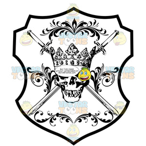 Black And White Skull Wearing A Cornet Crown And With Two Cross Swords Coat Of Arms Inside Geometric Plaque Shield