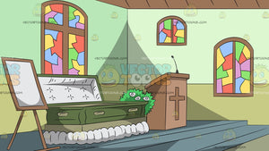 Coffin In A Church Background