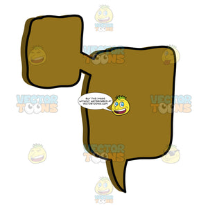 Small And Large Rounded Square Brown Attached Thought Balloons With Single Tail