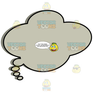 Grey Silent Wavy Cloud Comic Thought Bubble