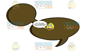 Brown Small And Large Blank Attached Thought Bubbles With Right Tail