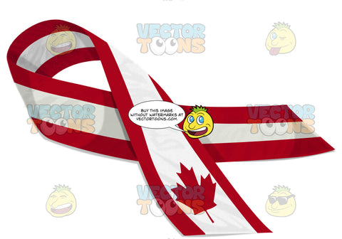 Canadian Red And White Maple Leaf Flag Design Pin Ribbon