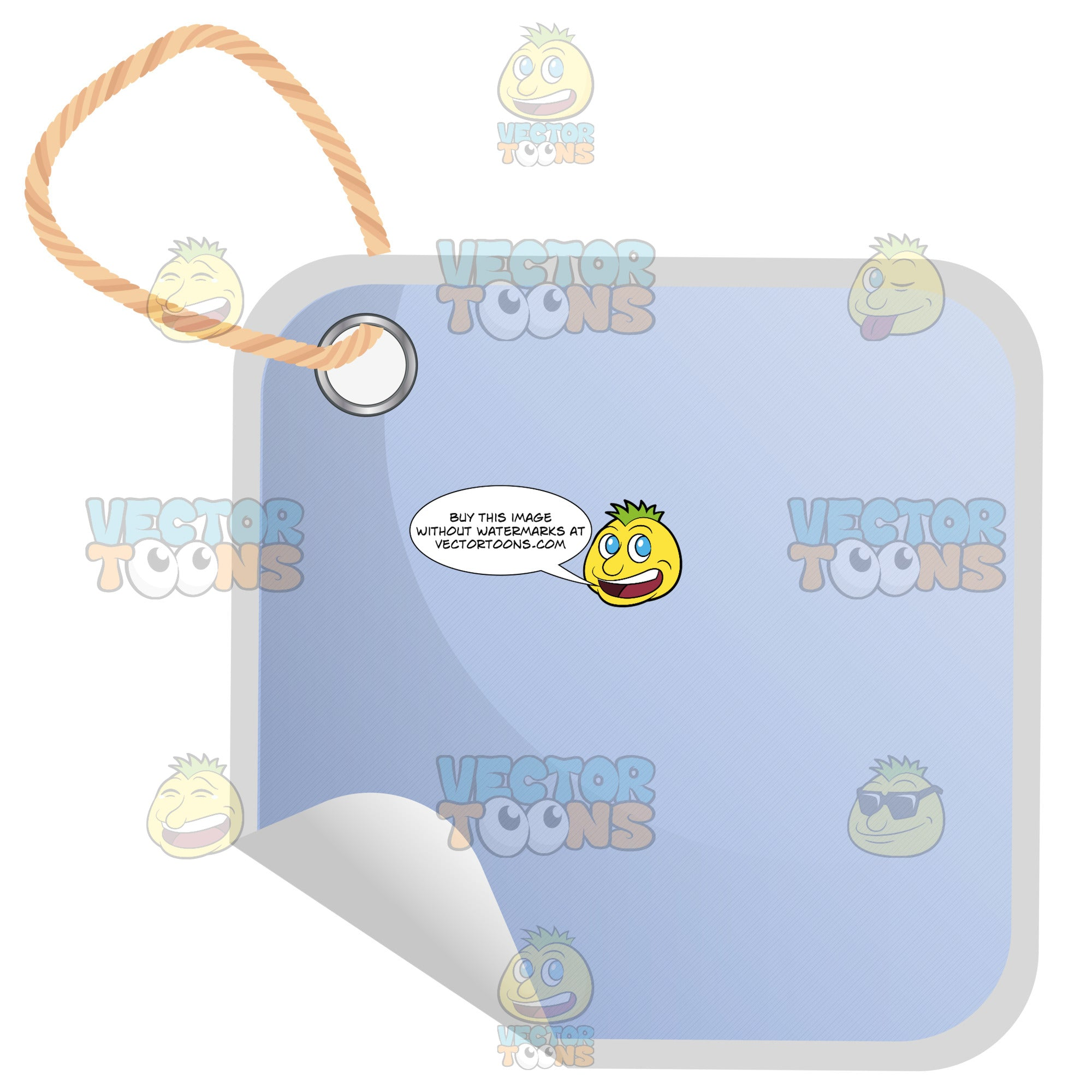 Square Light Blue Hang Tag With String And Curled Edge