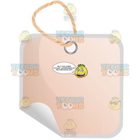 Square Light Pink Hang Tag With String 3d Shadow Effect And Curled Corner