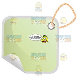 Square Light Green Hang Tag With String 3d Shadow Effect And Curled Left Corner