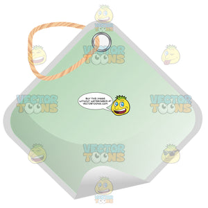 Square Light Green Hang Tag With String 3d Shadow Effect And Curled Corner