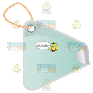 Triangle Light Blue Clothing Hang Tag With String 3d Shadow Effect And Curled Corner