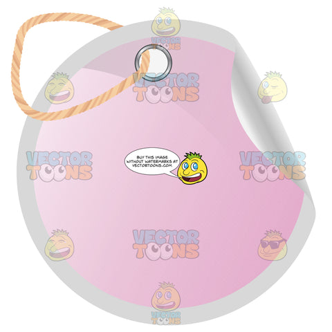 Round Pink Blank Tag With Hole Punched And Twine Knot, Curled Edge