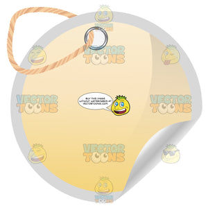 Round Yellow Blank Tag With Hole Punched And Twine Knot, Curled Edge
