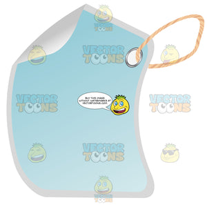 Sky Blue Rectangle Blank Hang Tag With Hole Punched, String, 3d Shadow Effect And Folded Edge