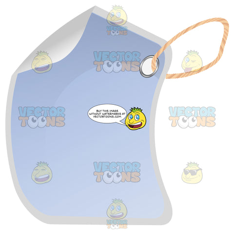 Blue Rectangle Blank Hang Tag With Hole Punched, String, 3d Shadow Effect And Folded Edge