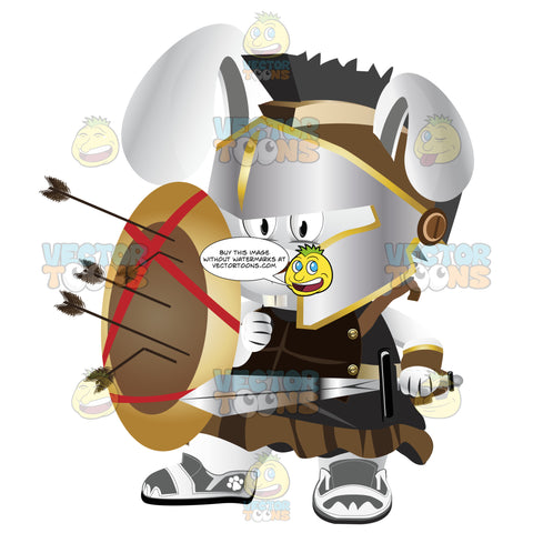 Combat Bunny Dressed In Roman Soldiers Armor With Shield And Sword