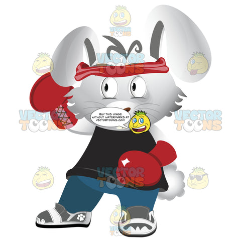 Bunny Dressed In Gym Boxing Outfit, Red Bandana, Boxing Gloves