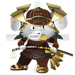 Samurai Bunny In Full Leather And Metal Samurai Armor And Helmet With Sword