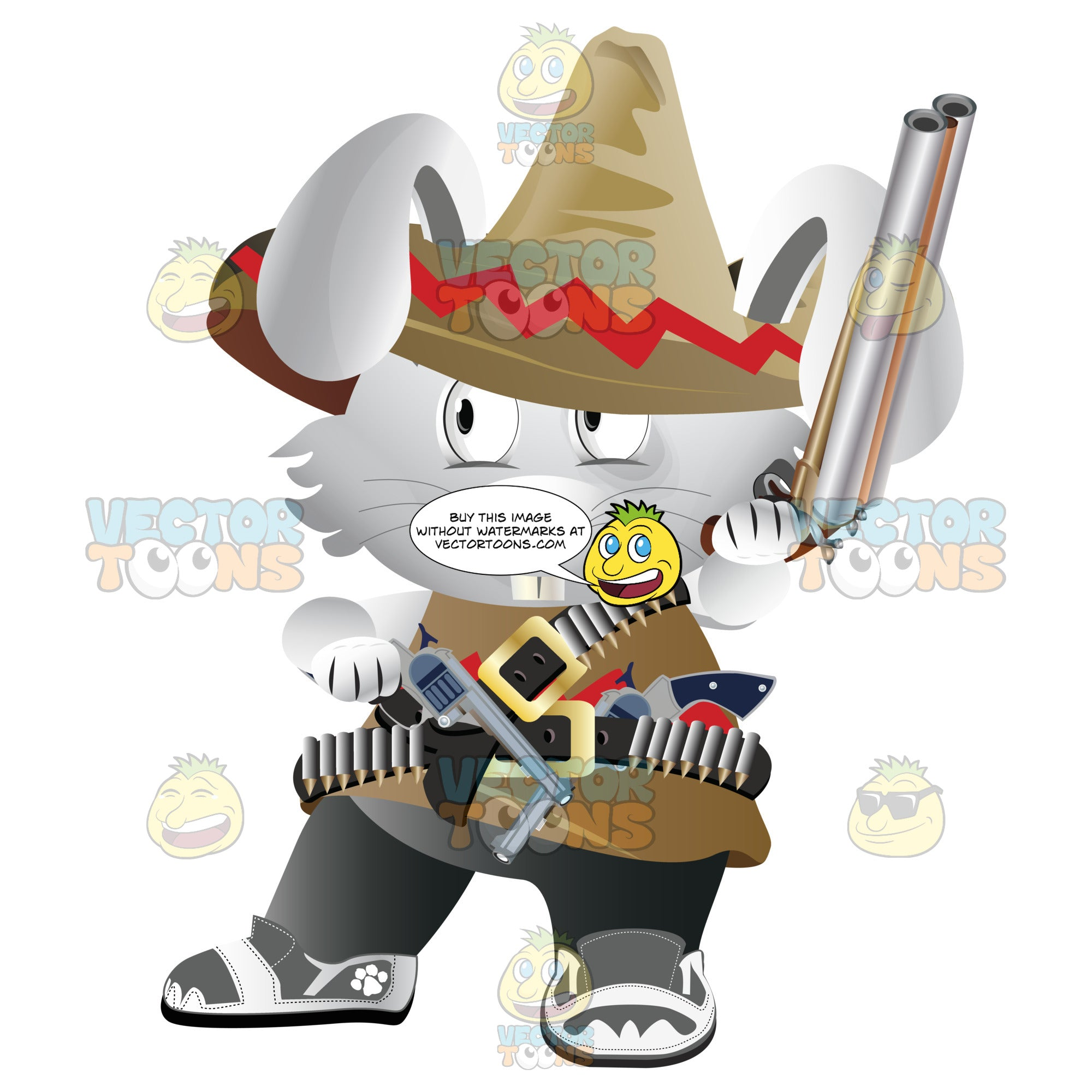 Bunny Dresses As Mexican Bandit In Sombrero, Tunic And Gun Belts With Gun