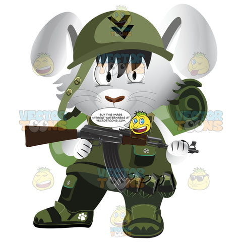 Army Soldier Rabbit In Green Uniform With Helmet, Backpack, Grenades And Rifle