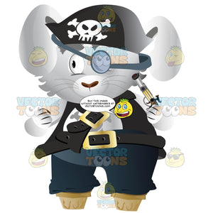 Pirate Bunny Captain With Jolly Roger Black Hat, Peg Legs, Buckles And Revolver