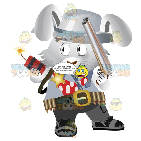 Wild West Bunny In Cowboy Hat, Sheriff'S Gold Star Badge On Leather Vest Holding Gun And Lit Stick Dynamite
