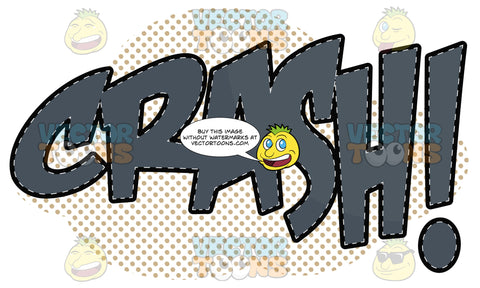 Crash! Cartoon Word In Grey With Dashed Lines And Dots In Background