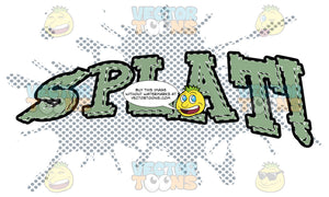 Splat! Comic Book Sound Effect Word In Green With Dots In Background