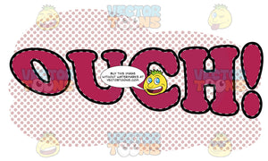 Comic Cartoon Word 'Ouch!' In Red With Pink Dots In Background