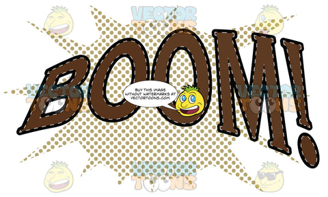 Comic Cartoon Word 'Boom!' In Brown With Brown Dots In Background